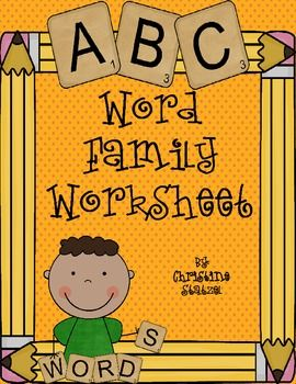 Word Family Worksheet--will work for all word families!