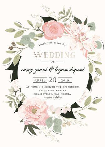 Pretty Pastel watercolor floral wreath. Check out this Rustic, Bohemian Foil-pressed Wedding Invitations in Blush and click to see more colors along with 30+ water color wedding invites: http://www.confettidaydreams.com/watercolor-wedding-invitations/