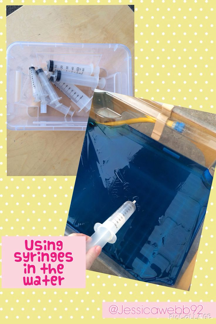 Using syringes in the water. EYFS
