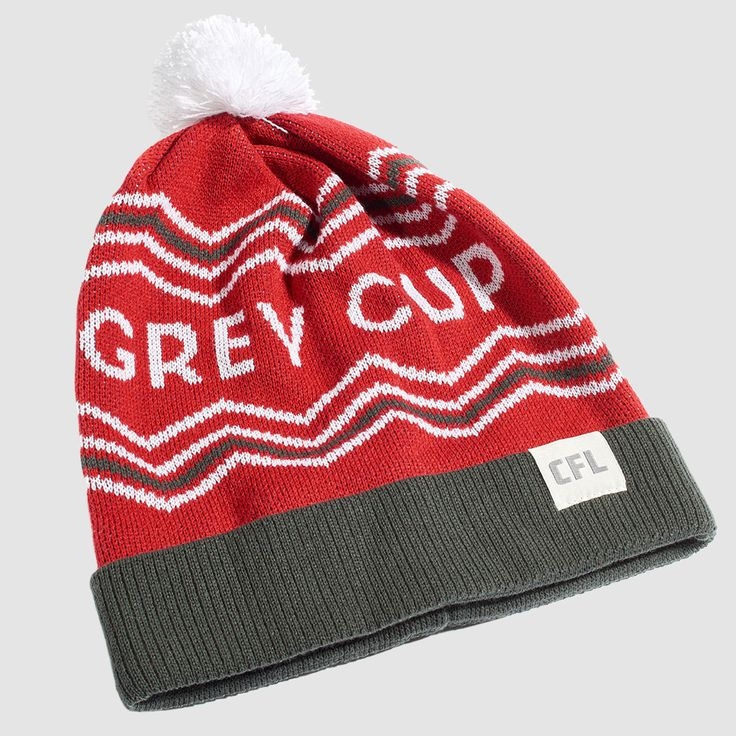 """CFL Grey Cup Red Toque. It's survived an attempted heist & ransom, a three-alarm fire blaze, and over 100 victory celebrations (we can only imagine how wild those were). To say that the words """"Grey Cup"""" are iconic would be an understatement. Rep your country's (and one of North America's) oldest sport trophy with these toques this season.  Proudly Made in Canada."""
