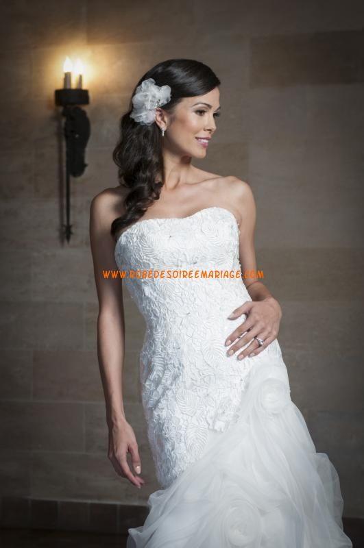 Robe de mariée sirène dentelle organza lacets