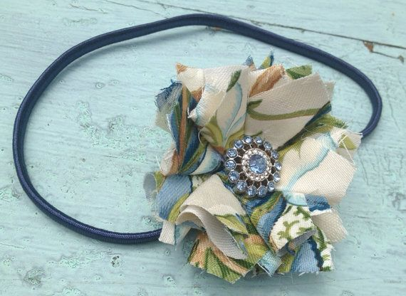 Green & Navy Blue Fabric Flower Headband, Hair Clip, Rolled Fabric Flower, Hair Accessories, Tropical Summer Headband, Fabric Flower Brooch, on Etsy, $16.00