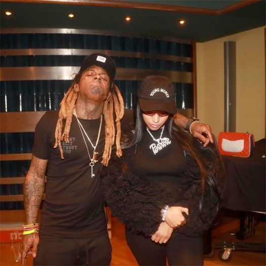 It appears Lil Wayne and Nicki Minaj's recent meetups haven't just been social calls as the two were spotted together in the studio in a series of pics and a video posted to Instagram last night. Continue below for a clip of Wayne skating his in-studio ramp for Nicki.| Nah Right