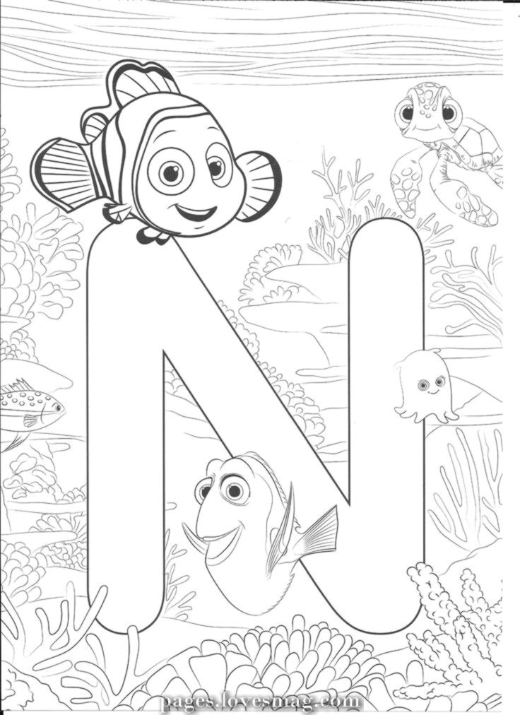 Coloring Nemo In 2020 Disney Coloring Sheets Disney Alphabet Abc Coloring Pages