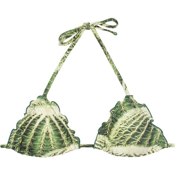 Agua De Coco Padded Cactus Print Triangle Bikini Top - Soutien Cacto... (8640 RSD) ❤ liked on Polyvore featuring swimwear, bikinis, bikini tops, green, triangle swim top, green bikini, padded bikini top, tankini top and padded swimsuit tops