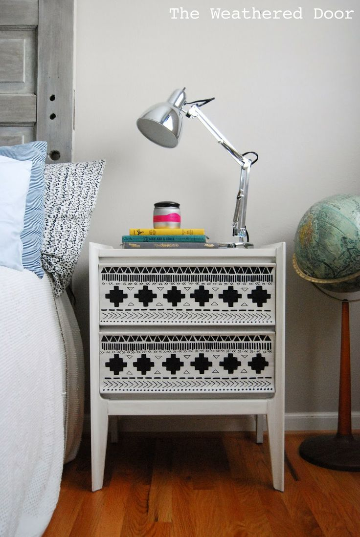 A black and white tribal nightstand