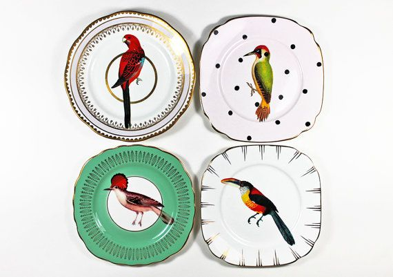 Beautiful Birds plate set by yvonneellen on Etsy, $69.00