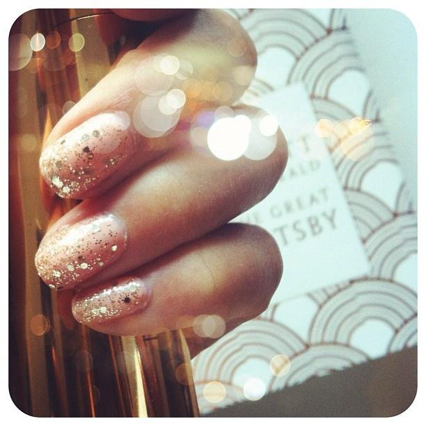 pink gold nails shimmer