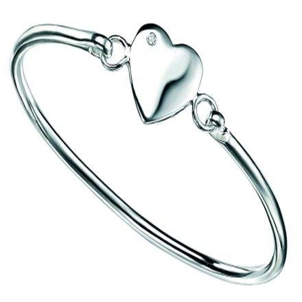 D for diamond Children's Silver Diamond Heart Bangle #christening #kids #jewellery