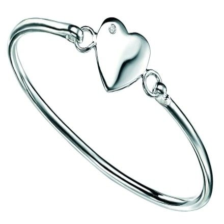 D for diamond Children's Silver Diamond Heart Bangle #christening #kids #jewellery