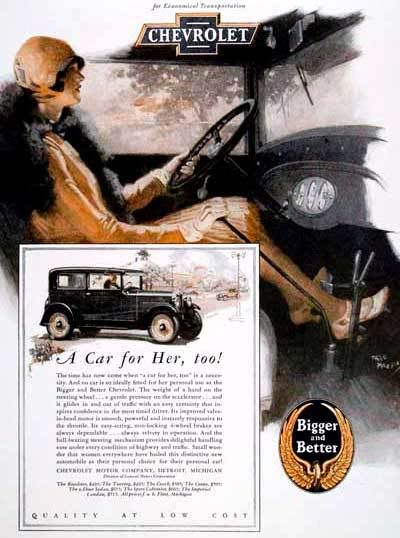 1928 Chevrolet 2-Door Sedan ad targeting women drivers