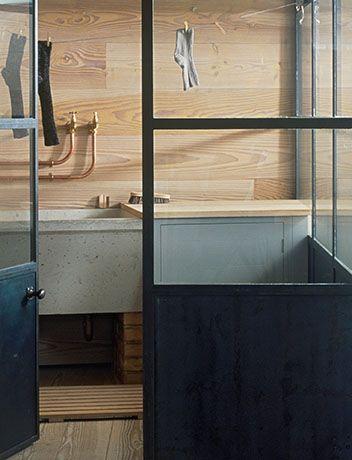 Exposed copper pipework & concrete basin. Plain English Design UK. The Osea Kitchen.