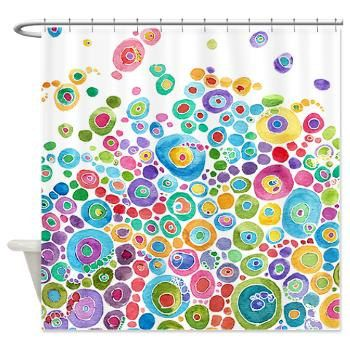 Artistic Shower Curtain - Inner Circle Bubbles - Abstract Watercolor colorful shower curtain, blue, teal, yellow, pink, green, extra long