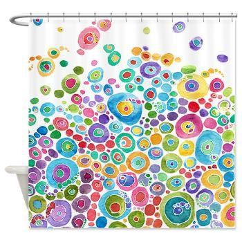 Rideau de douche coloré artistique douche Rideau - bulles Inner Circle - aquarelle abstraite, bleu, bleu sarcelle, jaune, rose, vert, extra long