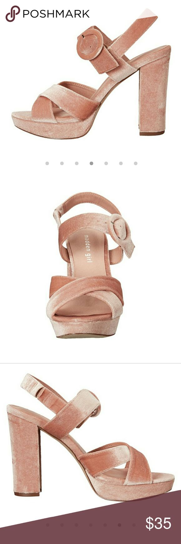 "NWOT 4.5"" heel Blush Velvet Madden Girl Heels Please see last picture. Super adorable for this season. Offers welcome. NWOT Steve Madden Shoes Heels"