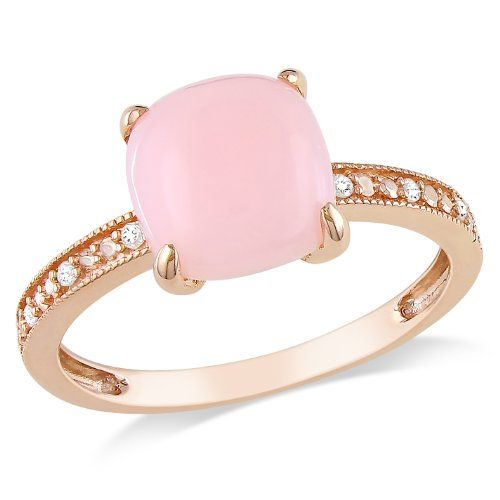 10k Rose Gold Pink Opal and Diamond Ring, (.03 cttw, G-H Color, I1-I2 Clarity)