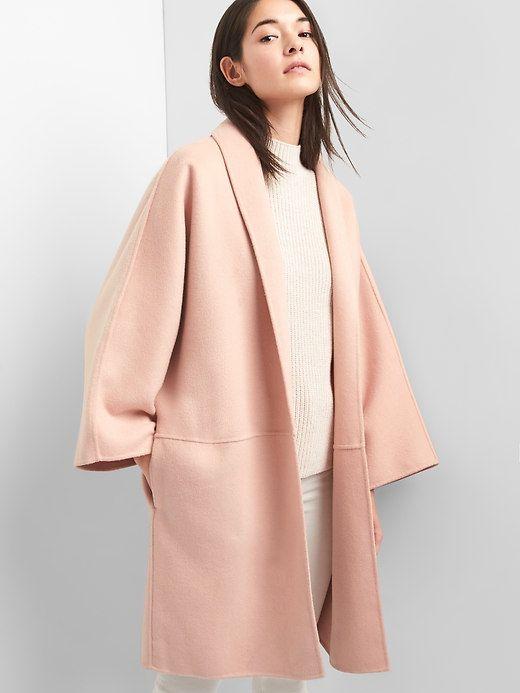 Marled collarless coat