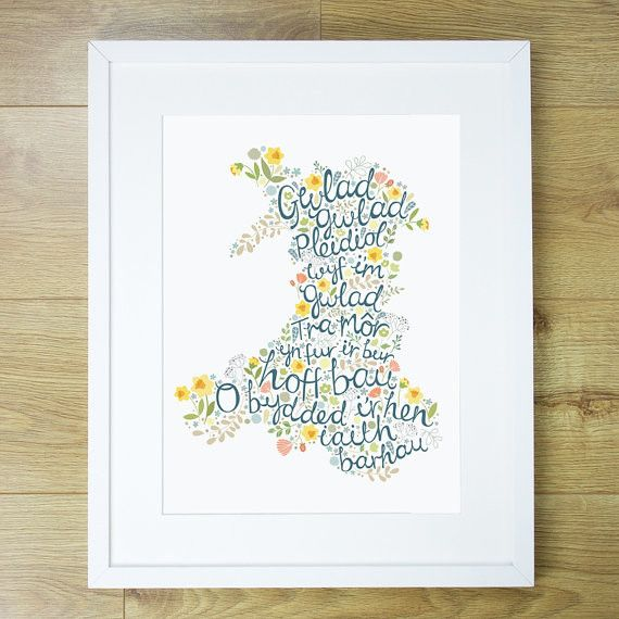 "A beautiful Welsh-as-you-can-get print with a fresh, modern feel that will sit perfectly in amongst your home decor. The text is taken from the chorus of ""Hen Wlad Fy Nhadau"" - which means 'Land of my Fathers.' welshgiftshop.com"