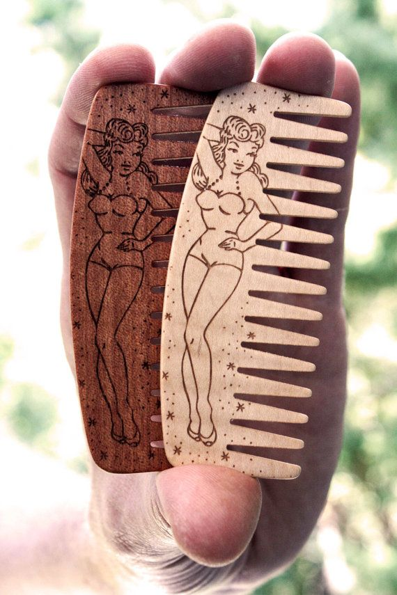 Big Red Beard Comb - Pin Up Girl - Figured Maple or Makore