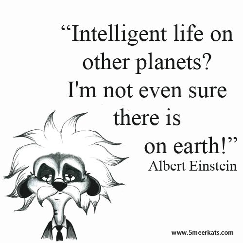 """Intelligent life on other planets? I'm not even sure there is on earth"" - Einstein"