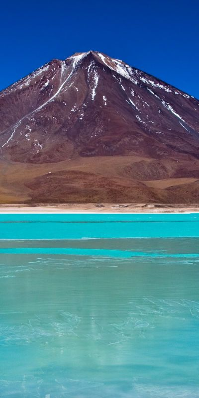 Laguna Verde, Bolivia. Laguna Verde is a salt lake in the southwest of the altiplano of Bolivia, in the Potosí Department, Sur Lípez Province, on the Chilean border at the foot of the volcano Licancabur.