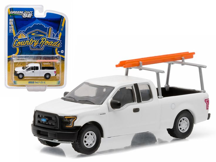"""2015 Ford F-150 XL White Work Pickup Truck with Ladder Rack and Ladder Pickup Truck """"Country Roads"""" Series 14 1/64 Diecast Model Car by Greenlight - Brand new 1:64 scale car model of 2015 Ford F-150 XL White Work Pickup Truck with Ladder Rack and Ladder Pickup Truck """"Country Roads"""" Series 14 die cast model car by Greenlight. Limited Edition. Has Rubber Tires. Comes in a blister pack. Detailed Interior, Exterior. Metal Body and Chassis. Officially Licensed Product. Dimensions Approximately…"""
