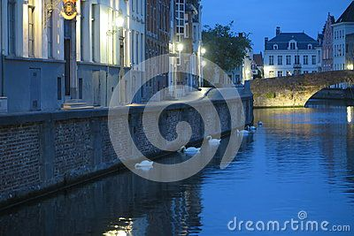Canal by night in Bruges, Belgium.
