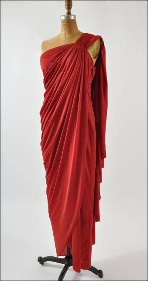 Anthony Muto stunning vintage jersey Goddess gown from 1970's by deanna