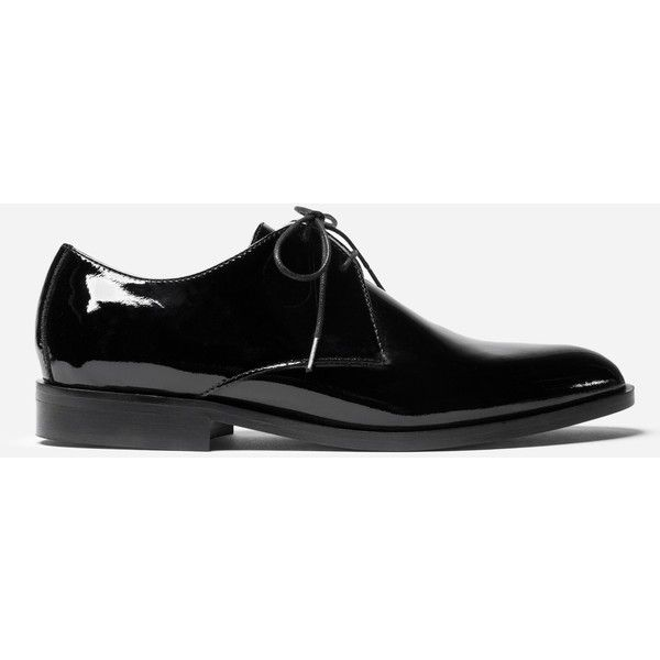 Everlane E2 Women's Oxford Shoes ($180) ❤ liked on Polyvore featuring shoes, oxfords, black patent, polish shoes, shiny black shoes, shiny shoes, black polishable shoes and black shoes
