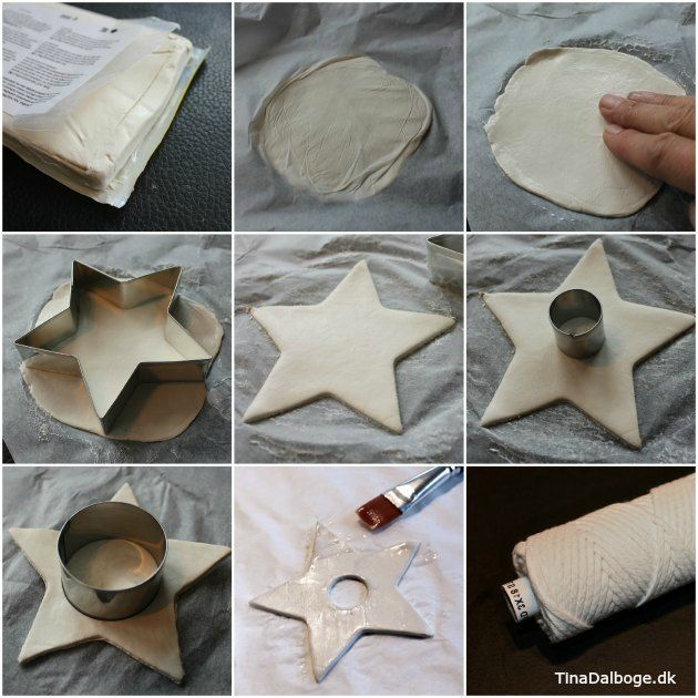 DIY Stjerner i selvhærdende ler. Se hvordan laver man stjerne af hvidt ler på kreahobshop.dk