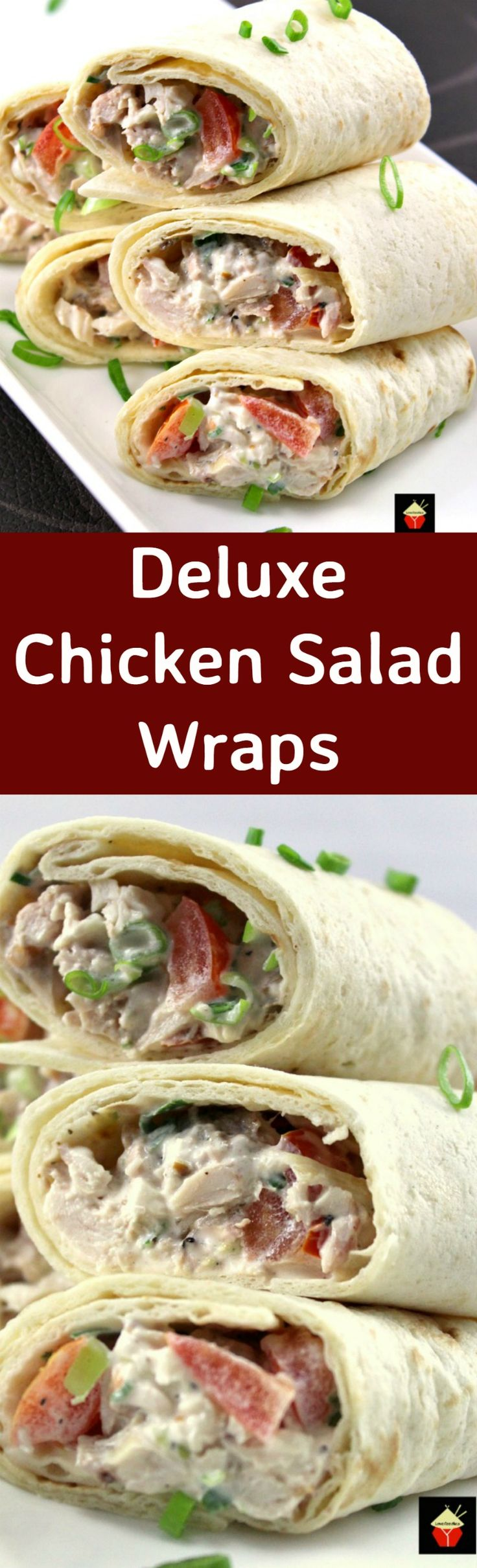 Deluxe Chicken & Bacon Salad Wraps. These little wraps are great for parties, lunches, suppers, or any time! It's a great way to use up left over chicken (or turkey), and the recipe is nice and easy, with no fuss. Delicious!  | Lovefoodies.com