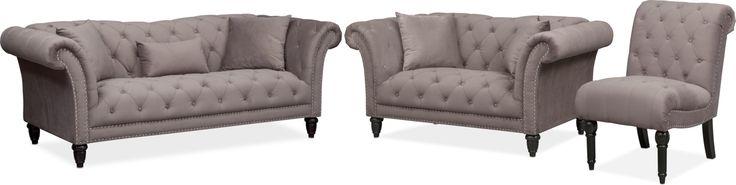 Marisol Sofa, Loveseat And Chair Set - Granite