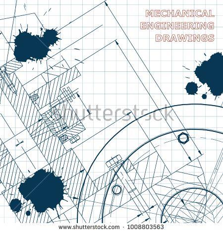 Backgrounds of engineering subjects. Technical illustration. Mechanical engineering. Draft. Ink. Blots #bubushonok #art #bubushonokart #design #vector #shutterstock #technical #engineering #drawing #blueprint  #technology #mechanism #draw #industry #construction #cad