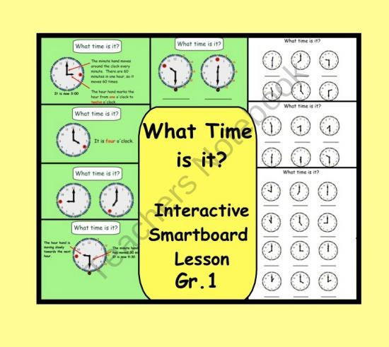 What Time Is It? Interactive Smartboard Lesson and Printables product from Teaching The Smart Way on TeachersNotebook.com