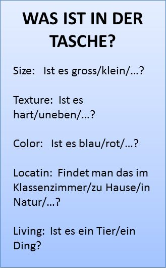 German Sektor: Was ist in der Tasche (building student vocab)