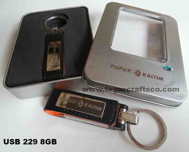 Leather USB Flashdrive 229, capacity 8GB, with engraving logos on the body and box. Ordered by PT. Pupuk Kaltim, Bontang East Kalimantan Indonesia. The leading fertilizer industry in Indonesia.