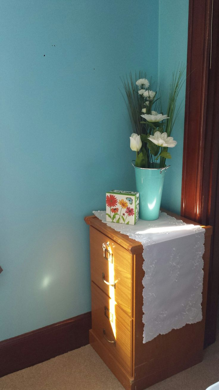 antique filing cabinet, to store greeting cards, that I have crafted! organized by category: flowers, sunsets, scenery, monogrammed, borders, children's, thank you cards.  I painted the flower can, with the wall paint, to coordinate!