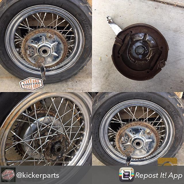 FOR SALE: Need to make room for more projects. Sellin this cheap! OG '49 Panhead star hub wheel and mechanical brake. Wheel and brake are in good condition. Tire has small stress cracks from age. $325 plus $25 shipping. DM or (928) 899-9780 #kickerparts #thechopmeet #chopperswapper #harleyparts #chopperparts #choppershit #knucklhead #panhead #shovelhead #ironhead @chopperswapper