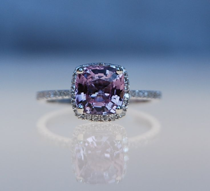 2ct square Cushion peach lavender champagne color change sapphire 14k white gold diamond ring. $2,350.00, via Etsy.