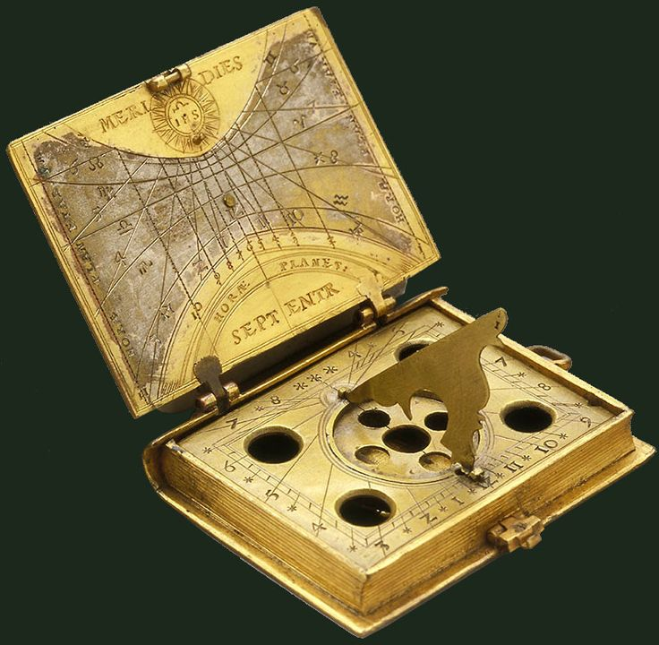 Astronomical compendium  This astronomical compendium, in the shape of a Missal, carries the coat of arms of the Company of Jesus (IHS). The outer face of the lid bears a lunar dial showing the phases of the moon; the inner face is engraved with the hour lines. Inside, there is a tilting gnomon mounted on a compass (now missing), that ensured the instrument's correct orientation and allowed its use as a dial. The back of the book displays the planetary hours.