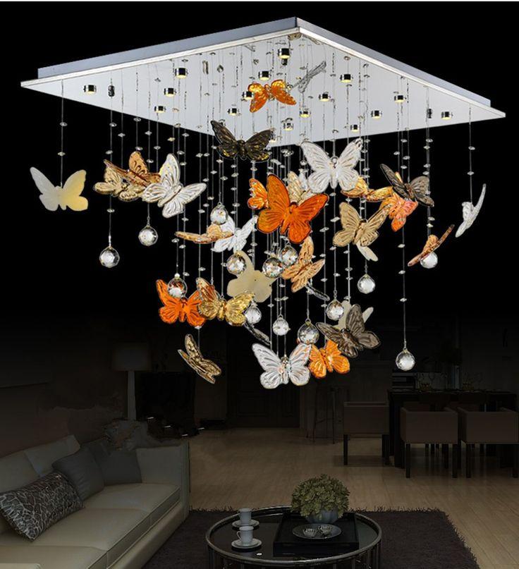 Living room modern minimalist LED Crystal Light rectangular butterfly restaurant atmosphere bedroom ceiling-in Ceiling Lights from Lights & Lighting on Aliexpress.com | Alibaba Group