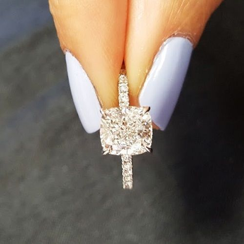 Huge Cushion Cut Round Accents Diamond Engagement Ring  KingofJewelry.......