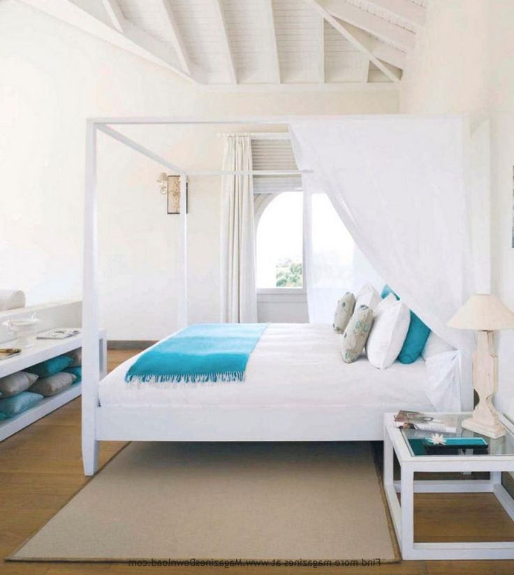 Beachy Bedroom Furniture White Turquoise Bedroom Canopy Bed Beach House Bedroom