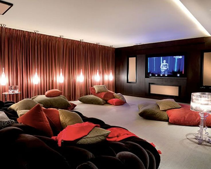 Amazing Amazing Home Theatre Design Ideas: Cool Home Theatre Design Ideas With  Black Comfortable Sofa Green