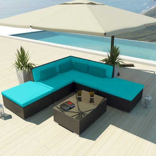 Uduka Outdoor Sectional Patio Furniture Espresso Brown Wicker Sofa Set Porto 6 Turquoise All Weather Couch
