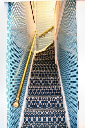 jonathan alder home tour !: Decor, Blue Interiors, Stairs, Pattern, Fun Stairca, Colors, Jonathan Adler, Design, Stairways