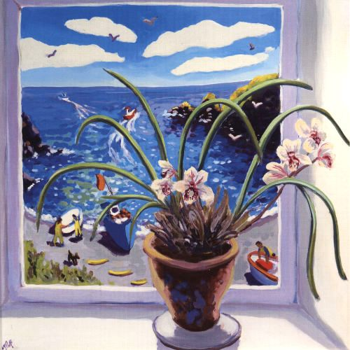 An Orchid's View by Lucy Pratt. Studied at Banbury, Loughborough and Cheltenham Schools of Art. Lucy says she dreams a lot and often put ideas from her dreams into her paintings.