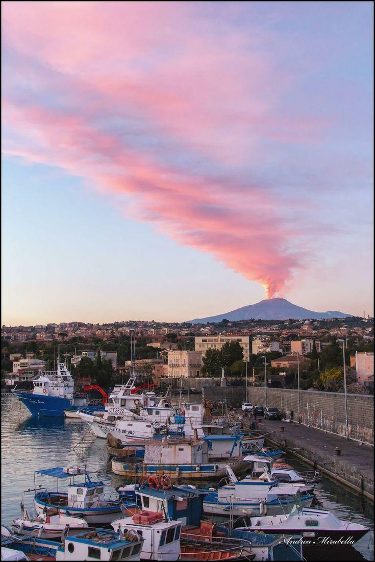 Etna al tramonto da Ognina, Catania dicembre 2018 (con