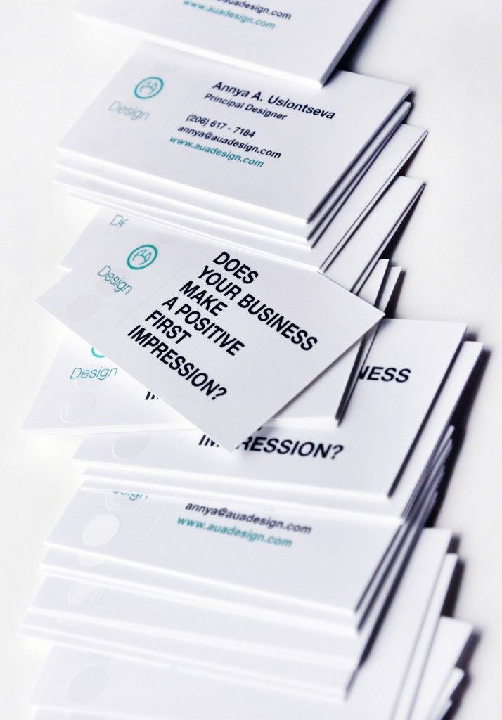 "Make your business cards ""work"". Like putting ""call to action"" tag lines, something that will make the client think about their marketing materials in a new way. By AUA Design - Business Card Design Inspiration 