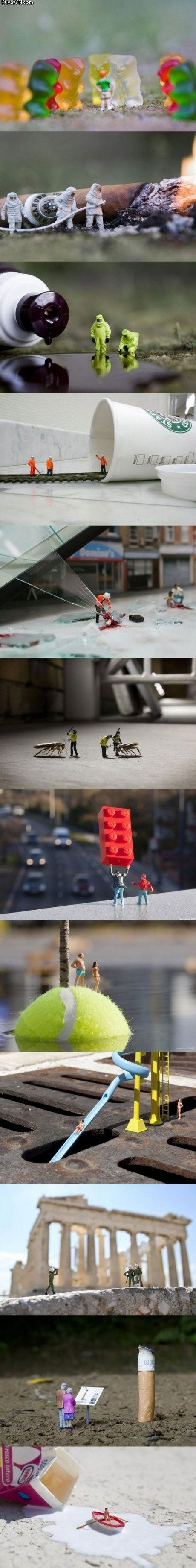 .Forced perspective Photography. Check out slinkachu at http://slinkachu.com/